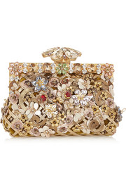 Vanda embellished velvet and leather clutch