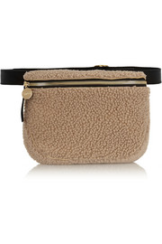 Clare V Leather-trimmed shearling belt bag