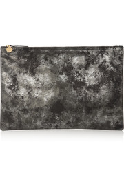 Oversize metallic leather clutch
