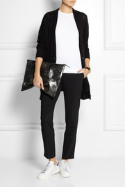 Clare V Oversize metallic leather clutch