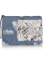 McQ Alexander McQueen Tech denim and printed twill clutch