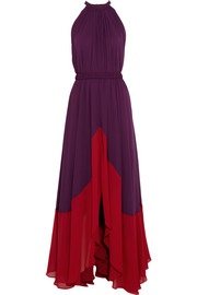Saloni Iris pleated chiffon maxi dress