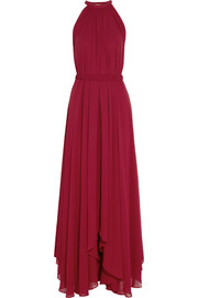 Saloni Irina pleated chiffon maxi dress
