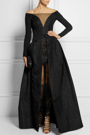 Alessandra Rich Crepe, taffeta and lace gown