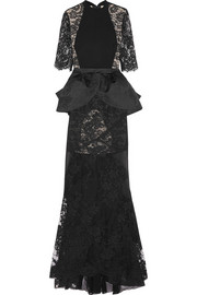 Alessandra Rich Lace, crepe and satin-jacquard peplum gown