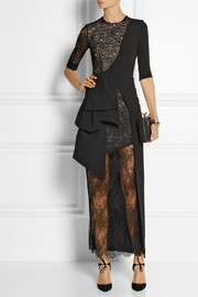 Alessandra Rich Wrap-effect lace and stretch-silk cady gown