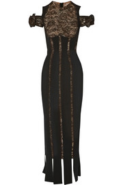 Alessandra Rich Stretch-silk and lace gown