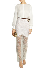 Alessandra Rich Silk-crepe and Chantilly lace gown