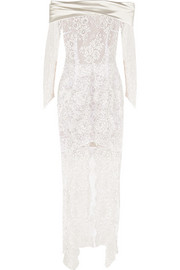 Alessandra Rich Satin-trimmed lace gown