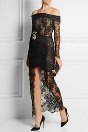 Alessandra Rich Satin-trimmed metallic lace gown