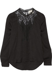 SEA Lace-paneled crepe top