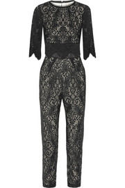 Cotton-blend lace jumpsuit
