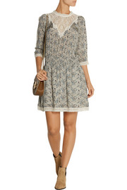 SEA Lace-trimmed printed silk-georgette mini dress