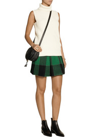 SEA Buffalo plaid stretch-wool mini skirt