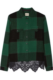 SEA Buffalo plaid wool-blend and lace shirt