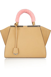 Fendi 2Jours mini shearling-trimmed leather shopper