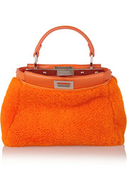 Fendi Peekaboo mini leather-trimmed shearling tote
