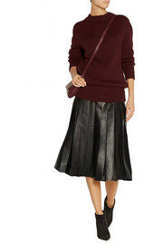 Burberry London Pleated leather and silk-chiffon midi skirt