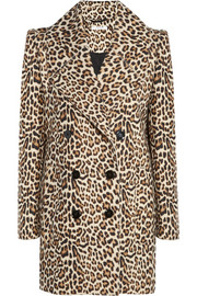Carven Leopard-print felted wool-blend coat