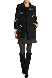 Carven Crystal-embellished woven wool coat
