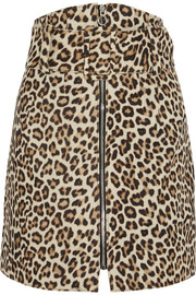 Leopard-print felted wool-blend mini skirt