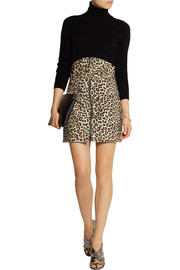 Carven Leopard-print felted wool-blend mini skirt
