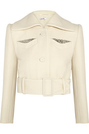 Carven Cropped embellished wool-crepe jacket