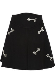 Carven Crystal-embellished wool mini skirt