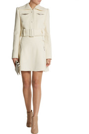 Carven Crystal-embellished wool-crepe mini skirt