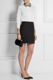 Carven Satin-collar cotton-poplin shirt
