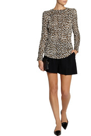 Carven Crinkled leopard-print satin top