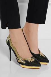 Charlotte Olympia Auspicious Debbie embroidered silk-satin pumps