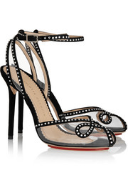 Charlotte Olympia Risqué Swarovski crystal-embellished suede and PVC sandals