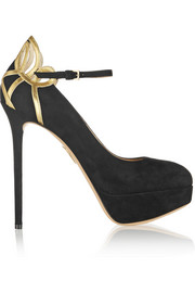 Charlotte Olympia Sabrina metallic leather-trimmed suede pumps
