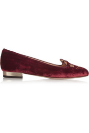 Charlotte Olympia Superstar Kitty embroidered velvet slippers