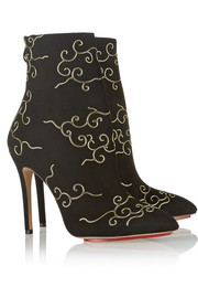 Charlotte Olympia Betsy embroidered suede ankle boots