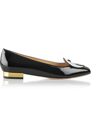 Charlotte Olympia Harmony embroidered patent-leather slippers