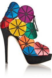 Charlotte Olympia Parasol embroidered satin and suede platform sandals
