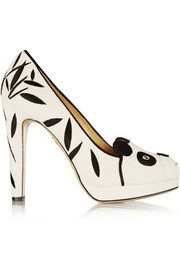 Charlotte Olympia Mei Xiang embellished velvet pumps