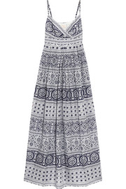 Indiana printed cotton and silk-blend maxi dress