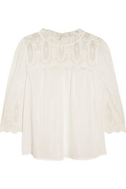 Collette by Collette Dinnigan Baroque embroidered cotton and silk-blend top