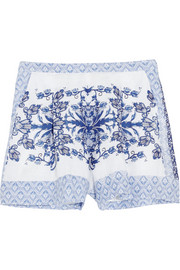Collette by Collette Dinnigan Printed linen shorts