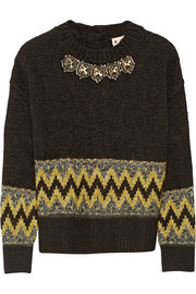 Marni Embellished jacquard-knit wool-blend  sweater