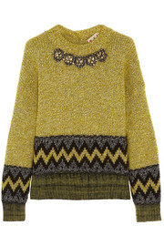 Marni Crystal-embellished wool-blend sweater