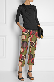 Marni Printed cotton and silk-blend straight-leg pants