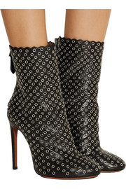 Eyelet-embellished leather ankle boots