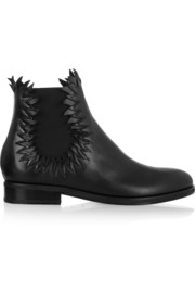 Flame-detailed leather ankle boots