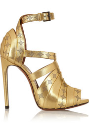 Laser-cut metallic leather sandals