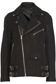 77 leather-trimmed wool-blend biker jacket