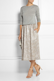 Rochas Metallic silk-blend jacquard midi skirt